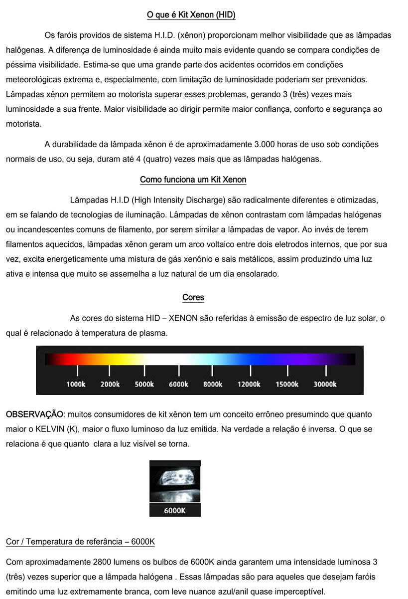 Kit Xenon Com Reator Digital H1 H3 H7 H11 Hb4 H27 6000k