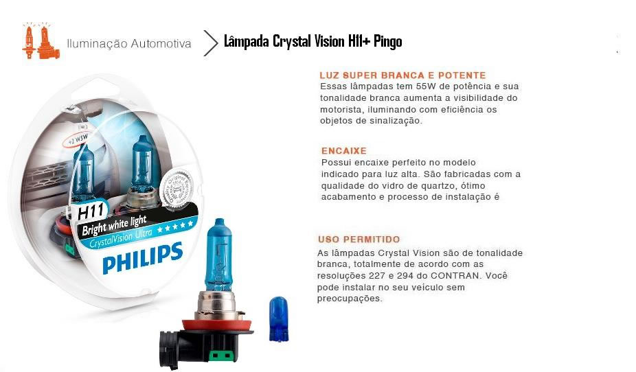 Par Lâmpadas Philips Crystal Vision Ultra H11 Super
