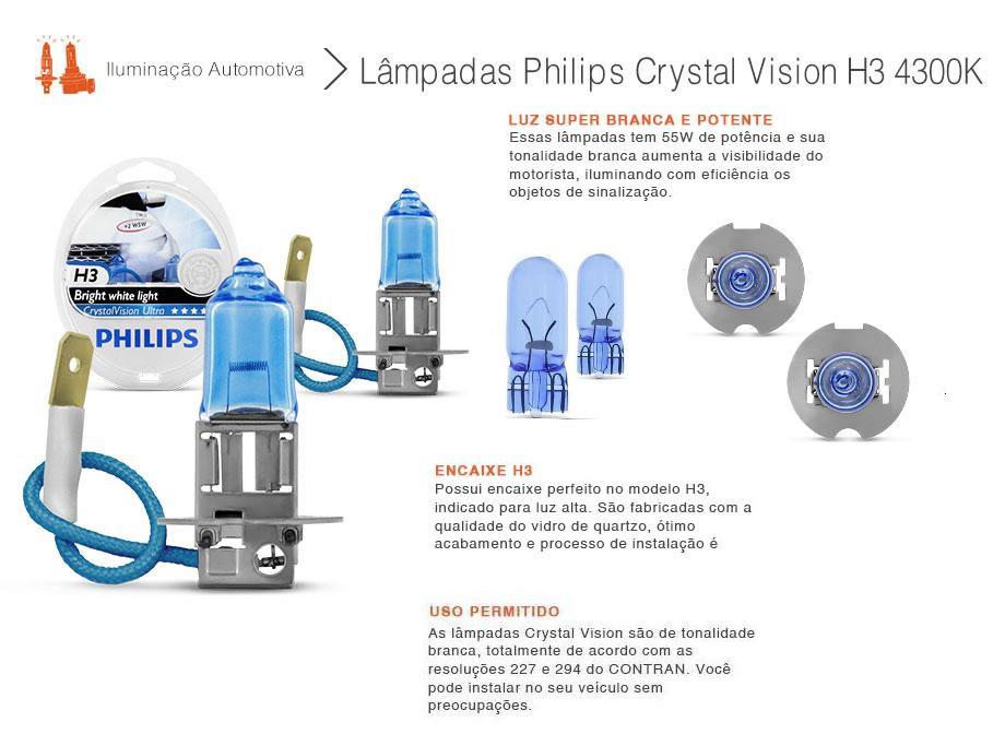 Lampada Philips H3 4300k Cristal Vision Super Branca